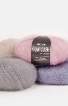 A luxurious, light brushed yarn in an exclusive mix of mohair super kid and mulberry silk, DROPS Kid-Silk is feather light, and will give garments a. Easy Knitting, Knitting Needles, Knitting Yarn, Mohair Yarn, Wool Yarn, Drops Design, Laine Drops, Drops Kid Silk, Garnstudio Drops