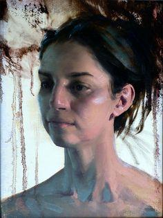 """Julia"" - Daniel Sprick, realist, oil on board {contemporary figurative realism artist figurative realism female head woman face portrait painting} Ambivalent !! danielsprick.com"