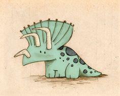 Triceratops dinosaurio impresión 8 x 10