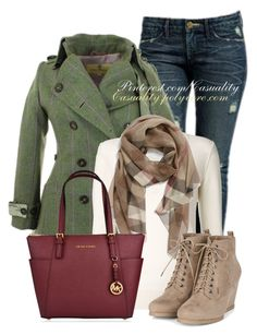 Wedged Laced Boots & Tweed Coat by casuality on Polyvore featuring polyvore fashion style Chloé Burberry