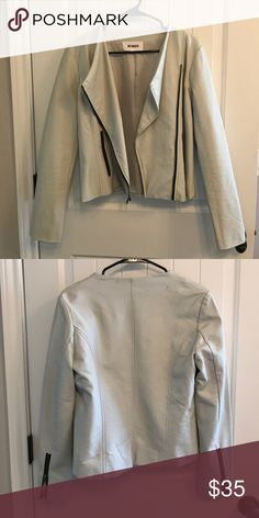 BB Dakota Faux Leather Jacket Size S Gently used faux leather jacket- light blueish grey with black accent zippers. Nice tailored fit. Good for spring and cool summer days! BB Dakota Jackets & Coats Blazers