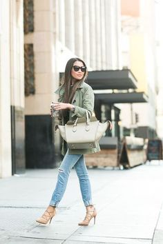 Casual Canvas :: Olive jacket & Nude lace-up pumps
