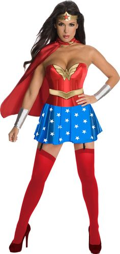 Wonder Woman Corset Adult Costume Includes: Corset, headpiece, skirt, gauntlet, cape and belt. Does not include hosiery or shoes. This is an officially licensed DC Comics product. Weight (lbs) 0.86 Le