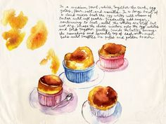 Quark souffle, watercolor illustration  Meta Wraber