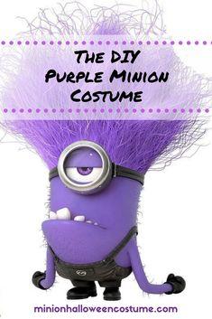 The BEST DIY Purple Minion costume! Great idea - the evil minions. Evil Minion Costume, Purple Minion Costume, Minion Halloween Costumes, Minion Outfit, Diy Costumes, Diy Halloween, Costume Ideas, Yellow Minion, Purple Minions