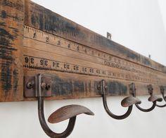 Yardstick Wall Coat Rack  I have tons of yardsticks!!!!