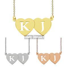 Harfli Kolyeler: Çift Kalpli Hediye Kolye 55 TL #gümüşdükkanı #kalplikolye #gümüşkolye #ücretsizkargo #kolye #hediye #aşk #kalp