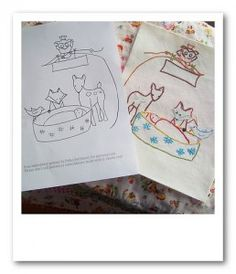 embroidery designs - kids' coloring books for designs--great idea