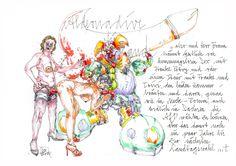 """""""Candice end frendz"""" Blatt 3 Fineliner, Copic-und Farbstift auf Zeichenkarton 21 x 29,7 cm Bild und Text © Nadja Schüller - Ost, 2016"""