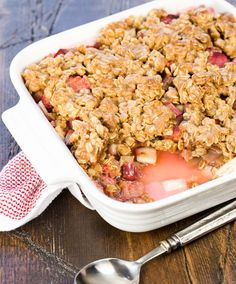 Rhubarb Apple Crisp-the perfect balance of sweet and tart.