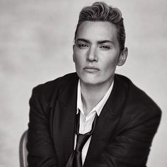 Kate Winslet wearing Giorgio Armani for L'Uomo Vogue by Peter Lindbergh