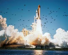 Space shuttle Challenger lifts off at Kennedy Space Center, 1986.