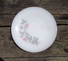 Vintage Federal Glass Milk Glass Plates - Pink Clover Blossom