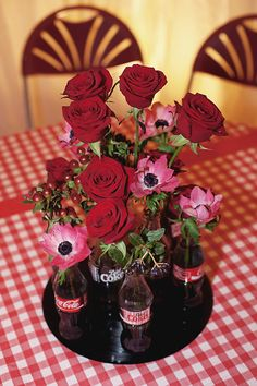 beautiful centerpiece! mary's favourite - red gingham and the coca-cola logo !