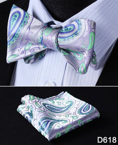 Floral Silk Jacquard Men Butterfly Self Bow Tie BowTie Pocket Square Handkerchief