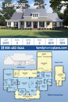 NEW Amazing Modern Farmhouse Plan 41400 at Family Home Plans with a Great Floor Plan This farmhouse plan is offered by a new home designer to Family Home Plans. The floor plan of this country design is open though the… Continue Reading → Family House Plans, New House Plans, Dream House Plans, Home And Family, Modern Family, Dream Houses, Family Houses, House Plans With Pool, Barn Style House Plans