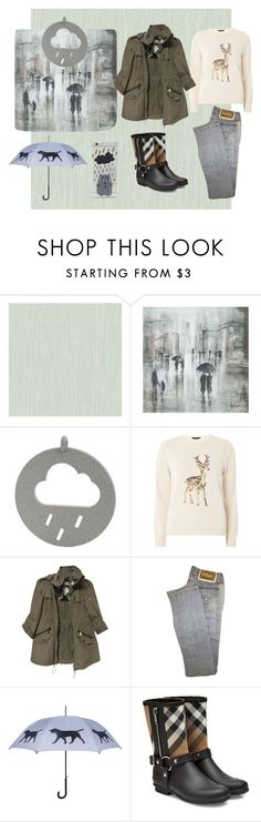 """Raining Cats and Dogs"" by loewenangel ❤ liked on Polyvore featuring York Wallcoverings, Leftbank Art, Dorothy Perkins, Burberry, Versace, Forever 21, plaid, rainydays, rain and raining"