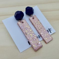 Geometric Navy with 'Pink Champagne' Rectangle Dangles- Raf & Hop