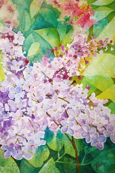 Old Fashion Lilacs is a beautiful original watercolor in soft colors of turqouise, aqua, green, and lavender and lilac in the flowers. by TerriRobertsonArt on Etsy