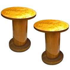 1stdibs   Jules Leleu Sycamore Pair Of Refined Round Cylindric Side Tables