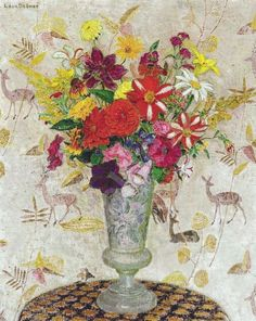 "huariqueje: ""  Still Life with Flowers - Leon De Smet , 1924 Belgian , 1881-1966 Oil on canvas """