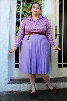 Plus Size  Vintage Lavendar Pleated Midi Skirt by TheCurvyElle, $25.00