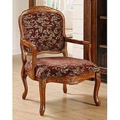 Curved Arm Merlot Floral Chair - Overstock™ Shopping - Great Deals on Living Room Chairs Furniture, Floral Chair, Chair, Best Master Furniture, Rocking Chair Cushions, Tuscan Furniture, Wood Furniture Living Room, Accent Arm Chairs, Upholstered Chairs