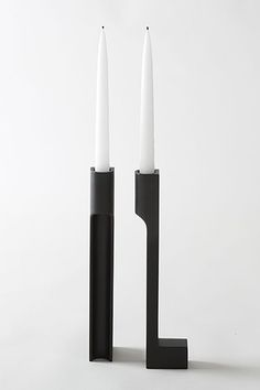 """Apartment Makeover In 29 Spring Buys #refinery29  http://www.refinery29.com/interior-design-tips#slide23  Tip 3:  """"Never underestimate the impact light makes — especially candles. These candlesticks function like small sculptures even when not in use. Pair them with a simple linen tablecloth for relaxed family dinners or with a low bowl of seasonal blooms for an intimate dinner for two."""" John Pawson Novy Dvur Bronze Candle Holder, $495, available at March."""