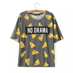 Женщины Пицца письма печати футболка симпатичные Торт НИКАКОЙ ДРАМЫ топы с коротким рукавом рубашки повседневные camisas femininas топы DT172