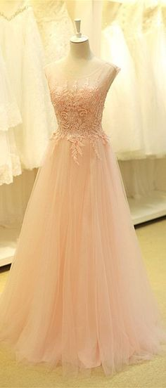 Cute lace appliqued pink tulle long prom dress, evening dress 2016