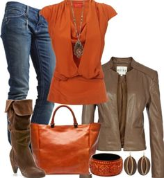 nice Fall outfit, love the orange!