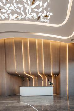 【新提醒】宁波合能枫丹江宁售楼处 曼图设计_商业展厅_室内设计联盟 - Powered by Discuz! Reception Counter, Hotel Reception, Hotel Concept, Dream House Interior, Wall Lights, Interior Design, Lighting, Architecture, Modern