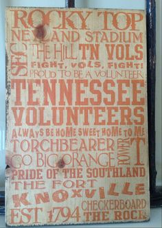 University of Tennessee Vols Typography On by SouthernFriedPatinas