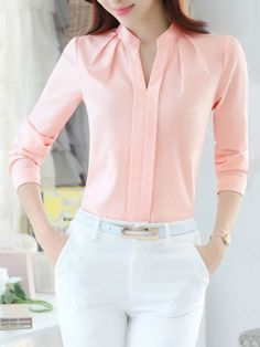 Middle East Solid Color Long Sleeve Notched Collar Shirts look not only special, but also they always show ladies' glamour perfectly and bring surprise. Sleeves Designs For Dresses, Collar Shirts, Collars, Indian Wear, Blouse Designs, Blouses For Women, Streetwear, Harajuku, Fashion Dresses