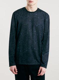 Blue Paisley Print Long sleeve T-Shirt