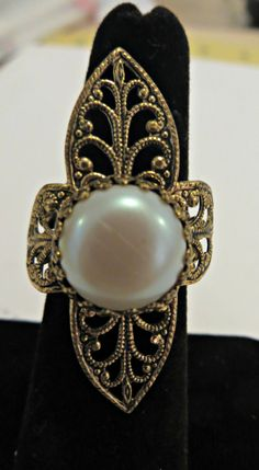 Vintage Ring Goldtone Faux Pearl Adjustable Filigree Costume Jewelry by FabulousFunFashion on Etsy