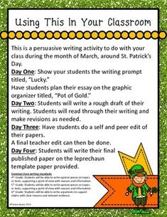 Trick the Leprechaun! by Teresa Kwant St Patrick Day Activities, Activities To Do, Writing Activities, Persuasive Writing, Writing Prompts, Writing Outline, Rough Draft, Graphic Organizers, Leprechaun