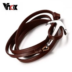 Genuine Leather Bracelet For Women Stainless Steel Anchor Buckle Handmade Ladies Gift