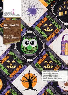 Halloween Quilt Anita Goodesign Embroidery Machine Design CD NEW Machine Embroidery Quilts, Brother Embroidery Machine, Machine Quilting, Machine Embroidery Designs, Whimsical Halloween, Halloween Design, Halloween Themes, Halloween Fun, Southwestern Quilts