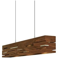 Cerno's Aeris contemporary LED island pendant is a linear design that boasts brushed aluminum, wild swirls of walnut grain, and oiled walnut details.