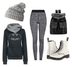 """Batman Hoodie Jogger Set"" by lyric-vernon ❤ liked on Polyvore featuring Helly Hansen, Topshop and Dr. Martens"