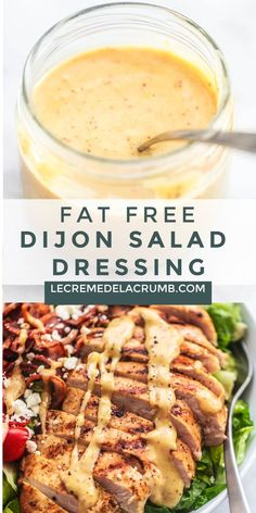 Tasty and simple Fat Free Dijon Salad Dressing packs a ton of flavor without the added fat! One secret ingredient makes this dressing rich and creamy! Fat Free Dressing Recipe, Low Fat Salad Dressing, Salad Dressing Recipes, Salad Dressings, Best Healthy Diet, Healthy Diet Recipes, Healthy Foods To Eat, Cooking Recipes, Kale Recipes