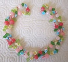 Vintage pastel floral necklace.