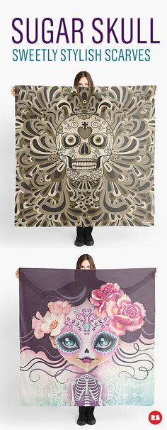 Add a little bit of macabre sweetness to your life with sugar skull scarves from Redbubble artists. Honor this Mexican tradition with thousands of amazing art pieces from Redbubble designers. #redbubble