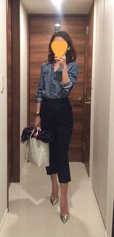Denim shirt: H&M, Navy pants: Tomorrowland, Striped scarf: Johnstons, Silver heels: PRADA