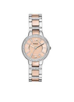 Dit tweekleurige dameshorloge heeft een schakel horlogeband en horlogekast van gepolijst roestvrijstaal. Dit horloge is een fashionable must-have. Mode: ES3405