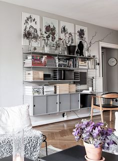 Grey walls and interior, livingroom and String-shelfs. Scandinavian decoration and ideas.