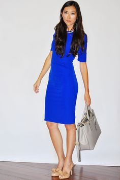 I love this sheath dress in royal blue. It's the perfect power dress for a big meeting. Bonus, it's machine washable and under $200!