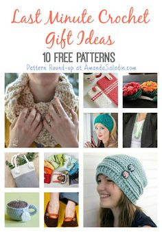10 Free Patterns - Last Minute Crochet Gift Ideas from AmandaSaladin.com