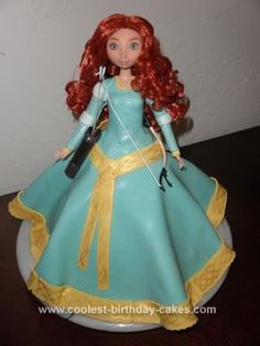 Homemade Merida from Brave Cake: So,after Brave came out we had to do a cake! I started with the Wilton doll cake pan. After cooking and cooling I iced the cake with butter cream and then